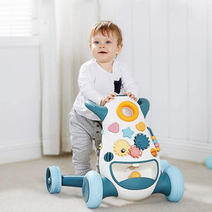 Baby Walker Trolley Multifunctional Push Push Baby Walker Children Learn to Walk Toy Car Play Walker with Toy Tray Learning Walker for Toddlers and Infants (Color : Blue)