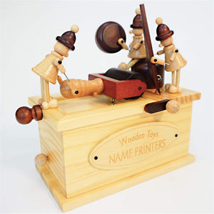 Crank Retro Vintage Printer & Telegraph Pattern Music Box Toy Hand-Wooden Music Box Creative Wooden Crafts Gifts for Kids, Birthday, Xmas, Valentine's Day (Color : Telegraph)