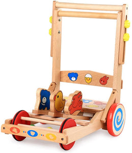 Baby Walker with Wheel Baby Walker, Push Toy, Mobile Walker, Wooden Walker, Child Pull Truck, Simple Walker for 6 Months to 3 Years Old (Color : Multi-Colored, Size : 50x39x38.5CM)