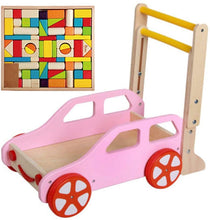 Load image into Gallery viewer, Baby First Steps Activity Walker Wood Baby Push Walker Rollover Prevention Step Helper Adjustable Height Speed with Colorful Blocks Trolley Toys Children Kids Boys and Girls
