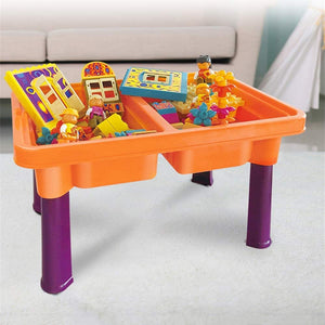 Building Block Game Table Children's Multi-Function Building Wooden Blocks Toy Table 3-6 Years Old Large Particles Assembled Toy Table for Children (Color : Orange, Size : Free Size)