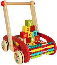 Load image into Gallery viewer, Wooden Baby Learning Walker Toys,Colorful Building Blocks,Abacus,Push and Pull Toddler Toy for 18 Month,Early Dvelopment