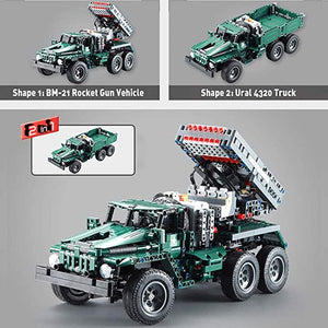 2 in 1 Remote Control Rocket Artillery Army Military Building Block Model Compatible with Children's Educational Science Toys Adult Birthday Collection Gifts