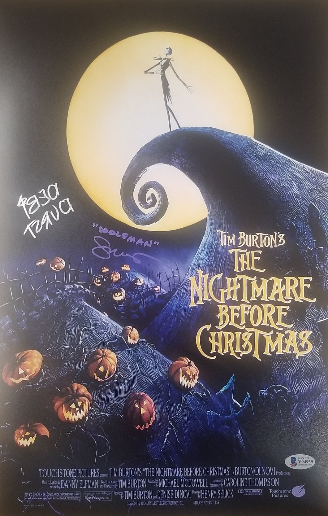 Glenn Walters and Debi Durst - Dual Signed 11x17 Nightmare Before Christmas Mini Movie Poster #1