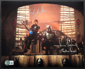 Temuera Morrison and Ming Na Wen - Dual Signed 8x10 Mandalorian Image #3 with Boba Fett Inscription