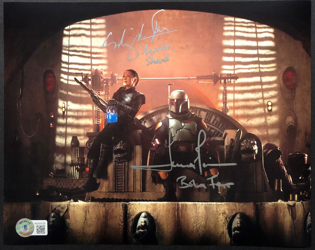 Temuera Morrison and Ming Na Wen - Dual Signed 8x10 Mandalorian Image #3 with Character Name Inscriptions