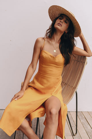the ochre linen dress
