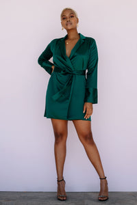 the sammi blazer dress in emerald by xo