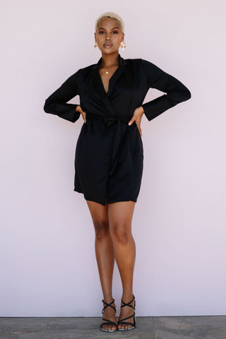 the sammi blazer dress in black by xo