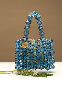 crystal blue beaded bag