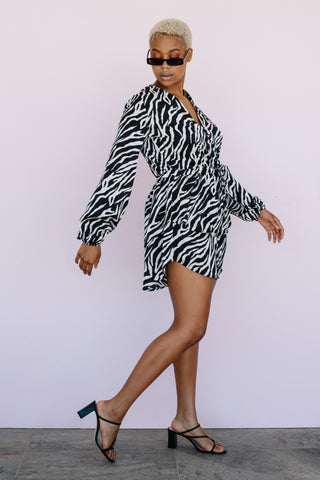 the dreama dress in zebra by xo.