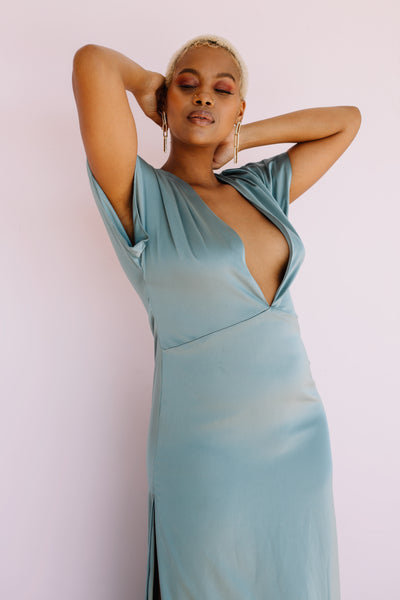 the faye dress in silver blue by ash faye