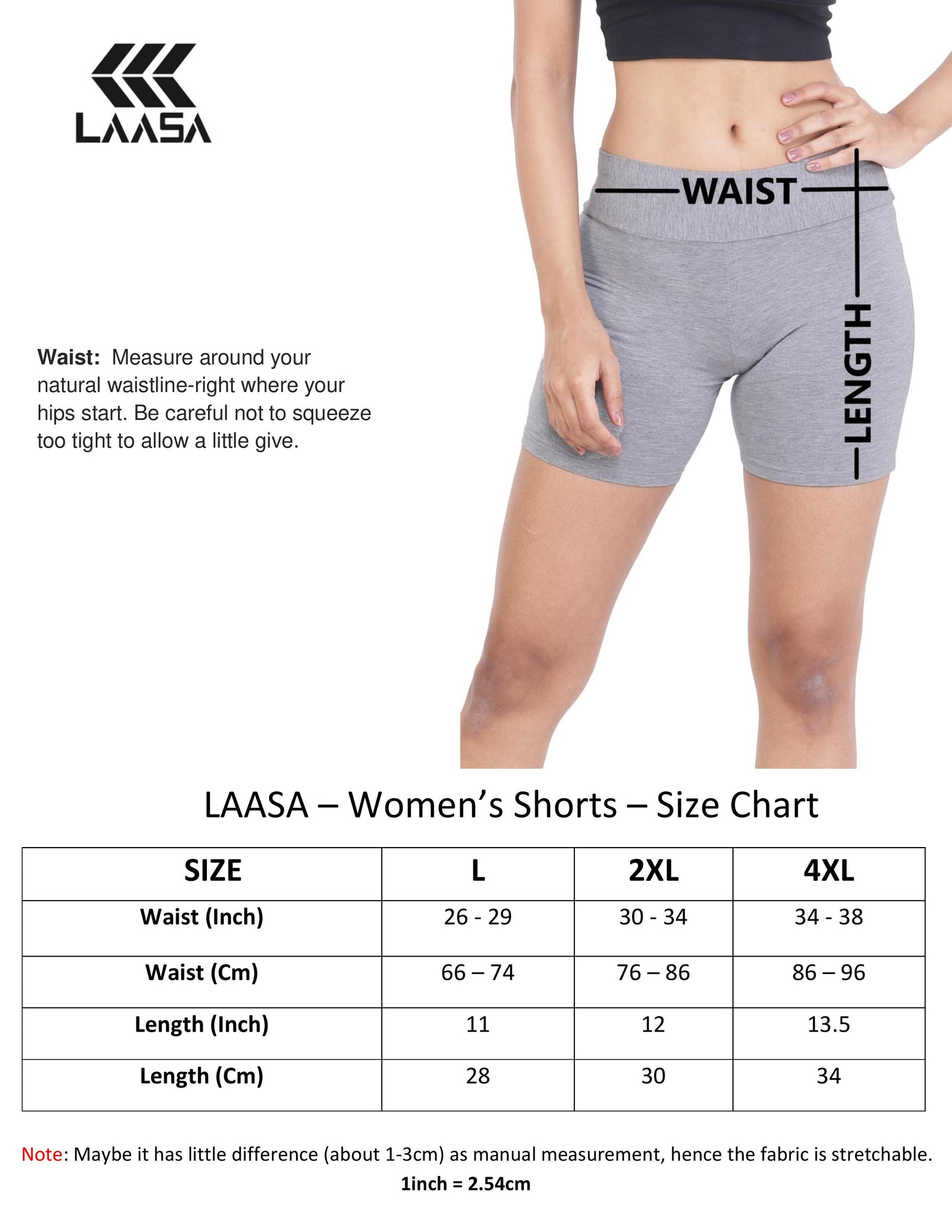 working out shorts size chart