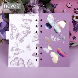 Never Colorful Butterfly Series Notebook and Journal Index Pages Dividers for Filofax Notebooks Cute Luxury Lavender Stationery
