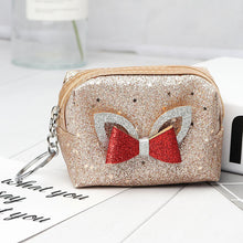 Load image into Gallery viewer, 2019 New Creative Bow Pu Leather Coin Purse Cartoon Star Patch Key chain Coin Bag Zipper Pouch Small Wallet Children Gift