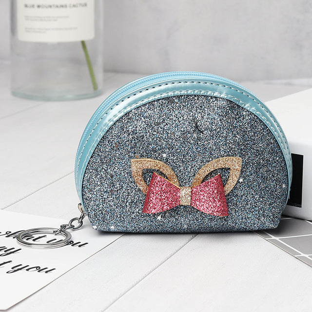 2019 New Creative Bow Pu Leather Coin Purse Cartoon Star Patch Key chain Coin Bag Zipper Pouch Small Wallet Children Gift