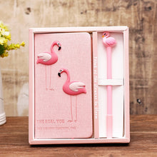 Load image into Gallery viewer, Unicorn Notebook set Cute Flamingo Note Book With free gel Pen Diary Day Planner Kawaii Journal Stationery gift School Supplies