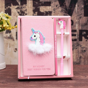 Unicorn Notebook set Cute Flamingo Note Book With free gel Pen Diary Day Planner Kawaii Journal Stationery gift School Supplies