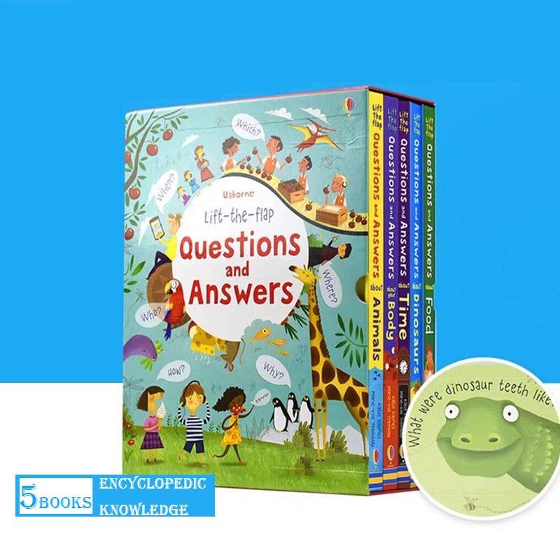 5PCS Usborne Peep Inside Questions And Answers Lift the Flap English Educational 3D Books Children Reading Book school supplise