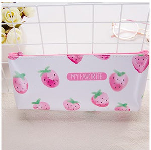 20 Pcs Kawaii Pencil Case Leather Gift Estuches School Cartoon Strawberry Pencil Box Pencilcase Pencil Bag School Supplies