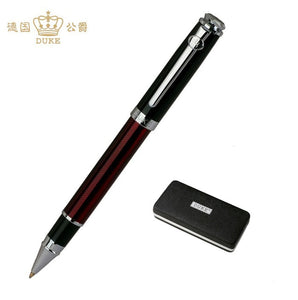 Hot Sale Writing Stationery Duke High Quality Black and Silver Rollerball Pen with Original Gift Case 0.7mm Metal Ballpoint Pens