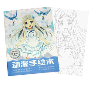 Anime ANOHANA Coloring Book For Children Adult Relieve Stress Kill Time Painting Drawing antistress Books gift