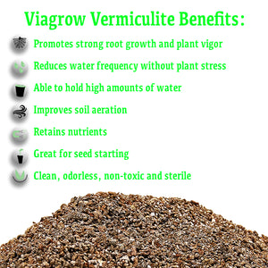 Viagrow Horticultural Vermiculite, 29.9 Quarts / 1 cubic FT / 7.5 gallons / 28.25 liters, Pallet of 80