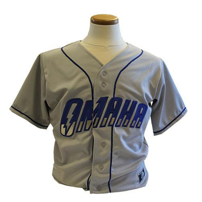 Omaha Storm Chasers Replica Grey/Royal Road Jersey