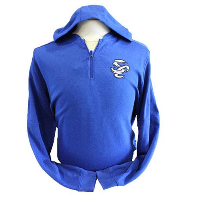 Omaha Storm Chasers Men's Majestic Royal Authentic BP Waffle Hood