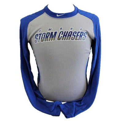 Omaha Storm Chasers Men's Nike Royal/Grey L/S Tee Game Top