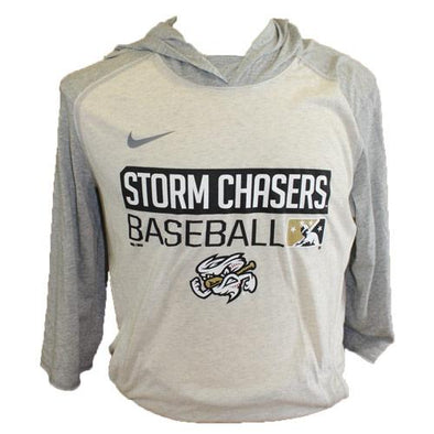 Omaha Storm Chasers Men's Nike Oat Heather 3/4 Flux Hoodie