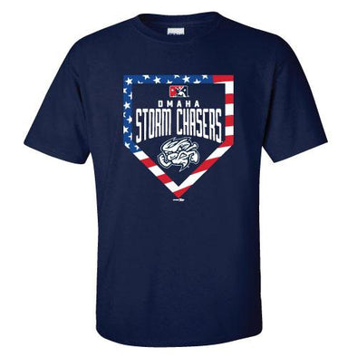 Omaha Storm Chasers Youth BR Navy Base Flag Tee