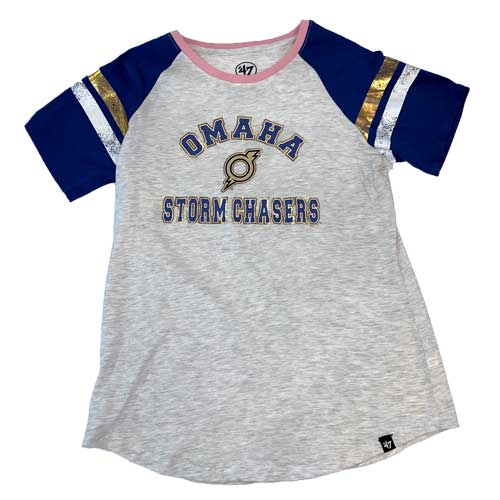 Omaha Storm Chasers Women's 47 Pink/Royal Fly Out Raglan Tee