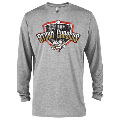 Omaha Storm Chasers Men's BR Grey Heather L/S Tee