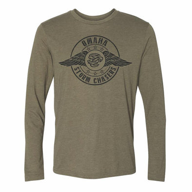 Omaha Storm Chasers Men's 108 Green L/S Military SC Tee
