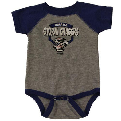 Omaha Storm Chasers Infant Heather/Royal Raglan Bodysuit