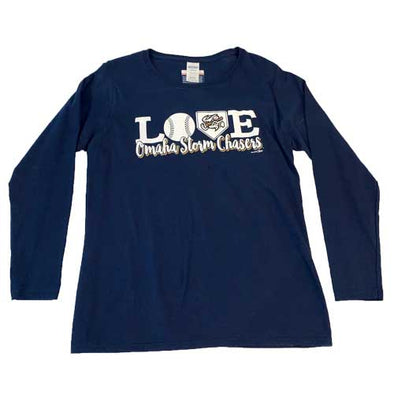 Omaha Storm Chasers Women's Navy L/S LOVE Tee