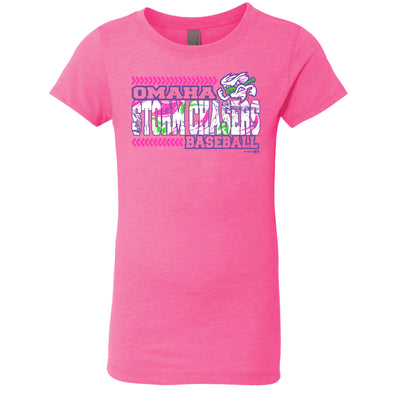 Omaha Storm Chasers Youth Girls BR Neon Pink Multi Logo Tee