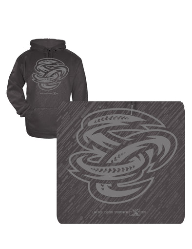 Omaha Storm Chasers Youth Grey Heather Embossed SC Hoodie