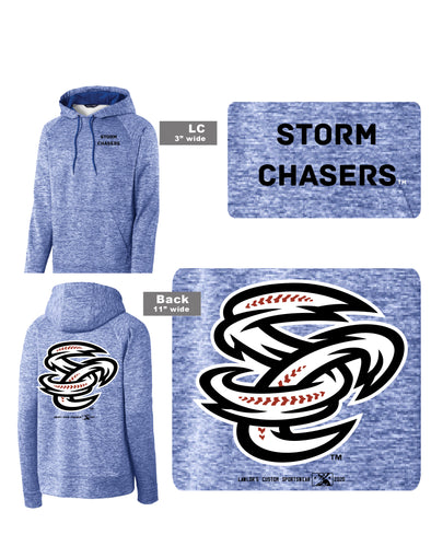 Omaha Storm Chasers Youth Heather Royal Storm Chasers Back Print Hoodie