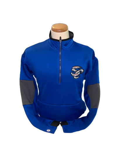 Omaha Storm Chasers Men's Augusta Royal/Carbon 1/4 Zip Pullover