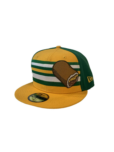 Omaha Runzas New Era 59Fifty Striped Green/Gold/White Cap