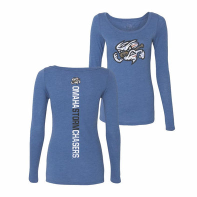 Omaha Storm Chasers Women's 108 Royal L/S Razor Back Tee