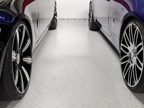 DIY Garage Flake Epoxy For Sale Sydney 2 Luxury Cars Parked on a Flake Epoxy Floor