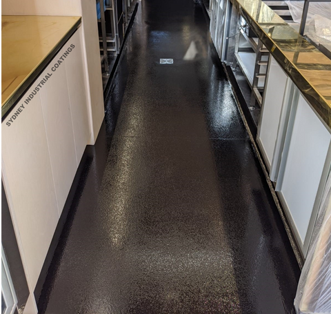 Nonslip Epoxy Floor Coating System for Commercial Kitchen in Charcoal