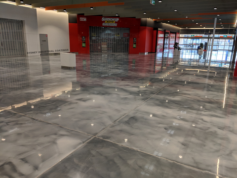 Metallic Cloudy Sky Epoxy Floor Coating System in Shopping Center