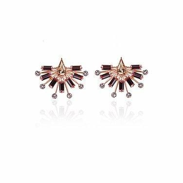 Baaguette Swarovski Crystal pink studs- The Jewel Jar