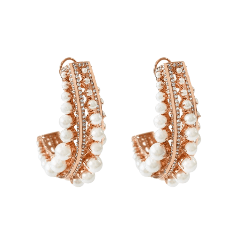 Perle Rose Gold Hoop Earrings