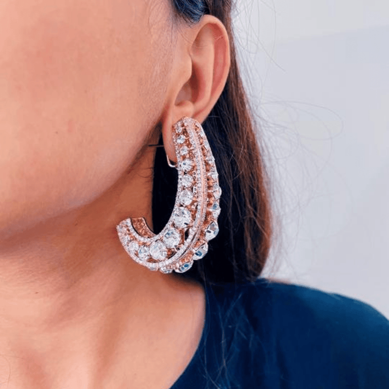 rose gold statement hoop earrings