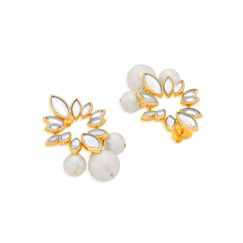 Marquise Mirror and Pearl Earrings